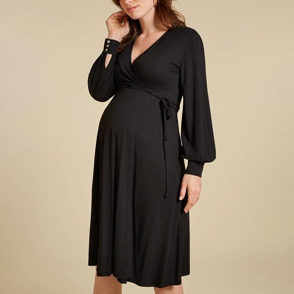 Maternity Cute V Neck Pure Colour Belted Dress