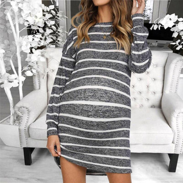 Maternity Round Neck Striped Long Sleeve Dress