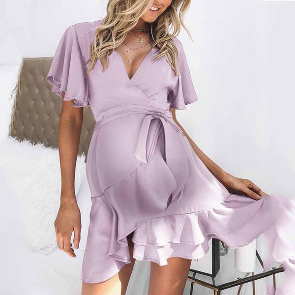 Maternity Casual  Deep V-Neck Short Sleeve Pure Color Tight Dress