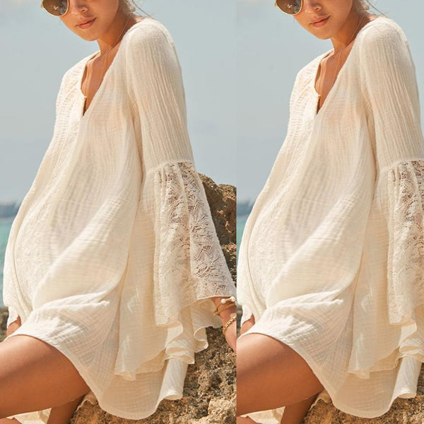Maternity Casual V-Neck Loose Large Size Trumpet Sleeve Dress