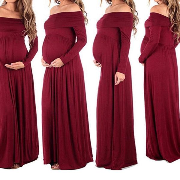 Maternity Word Collar Solid Colour Dress