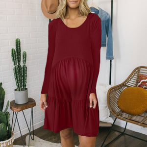 Maternity Cotton  Round Neck Long Sleeve Dress