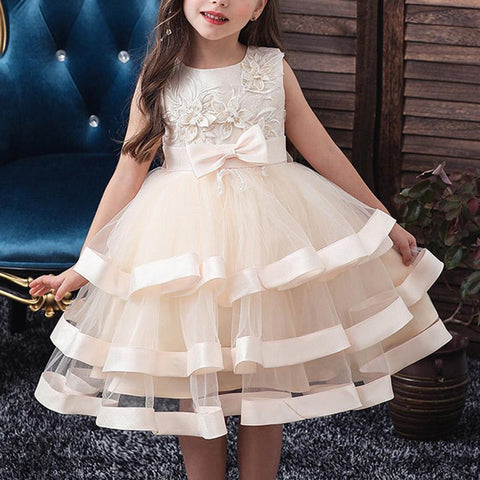 Multi-Layered Lace Flower Cake Princess Dress