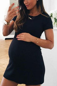 Maternity Solid Color Short Sleeve Mini Dress