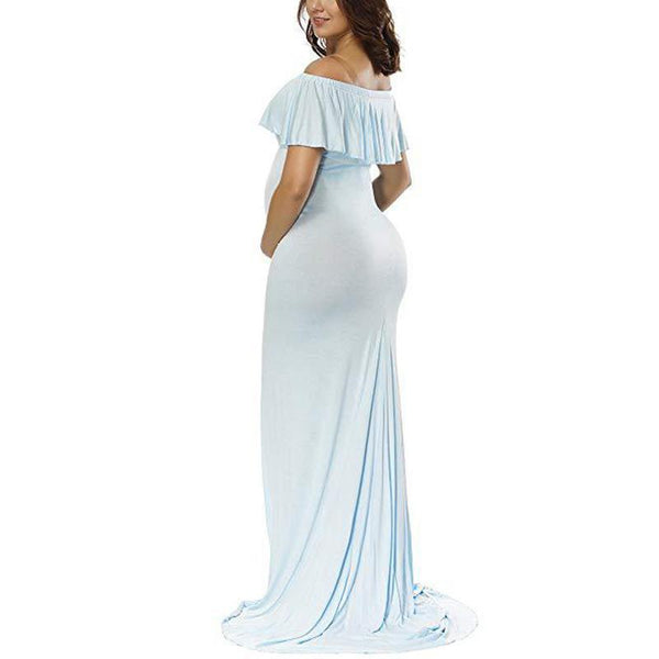 Maternity Solid Color Off Shoulder Photoshoot Gowns