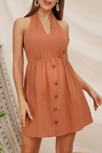 Maternity Halter Solid Color Dress