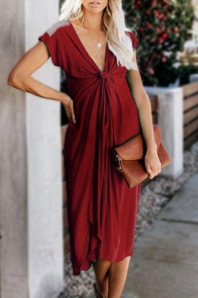 Maternity Solid Color V-Neck Midi Dress
