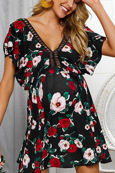 Maternity V-Neck Printing Casual Above Dress
