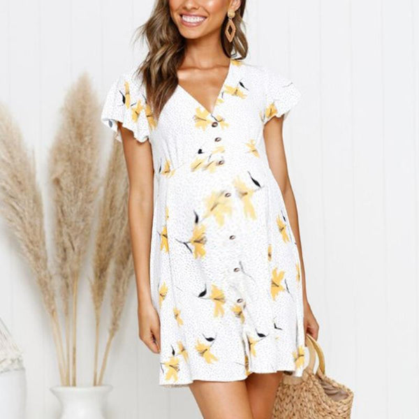 Maternity Printed Ruffle Sleeve Dress