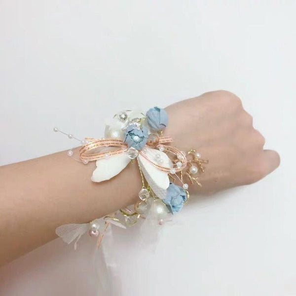 Color Side Clip Butterfly Flower Jewelry Wreath Headband Set