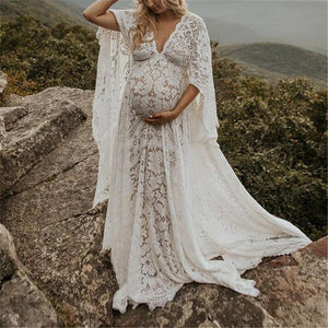 Maternity Fashion Loose Lace Long Sleeve Maxi Dress