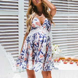 Maternity Halter Print Halter Dress