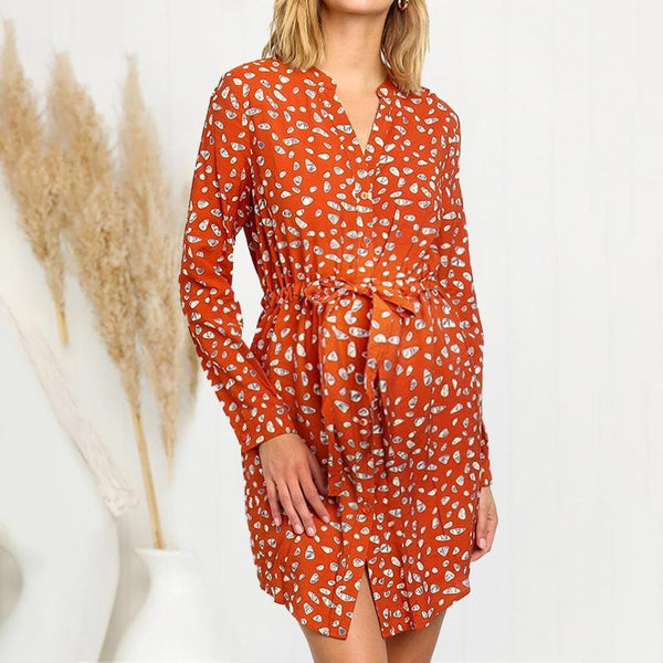 Maternity V Neck Printed Color Long Sleeve  Dress
