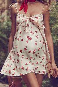 Maternity Sweet Cherry Printed Halter Strap Dress