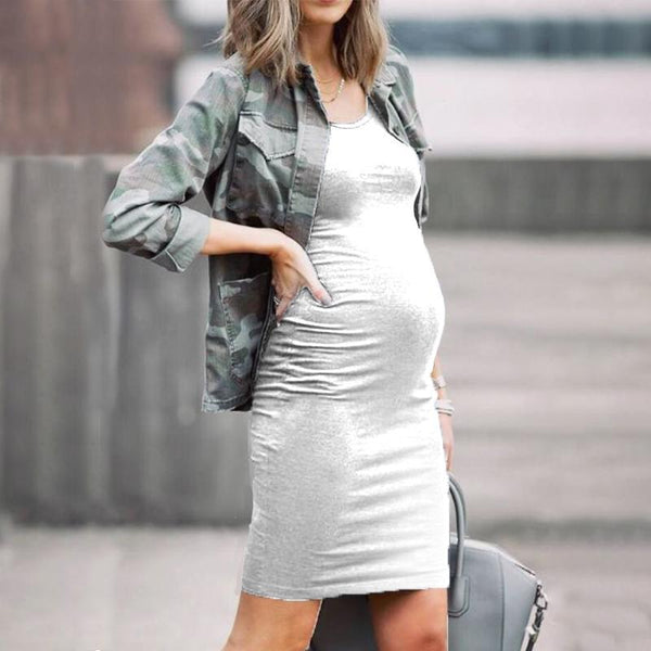 Maternity Round-Neck Sleeveless Slim Fit Dress