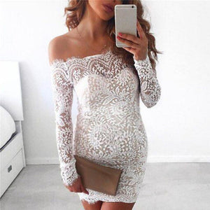 Maternity Sexy Lace Long Sleeve One-Piece Dress