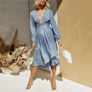 Maternity Deep V-neck solid color dress