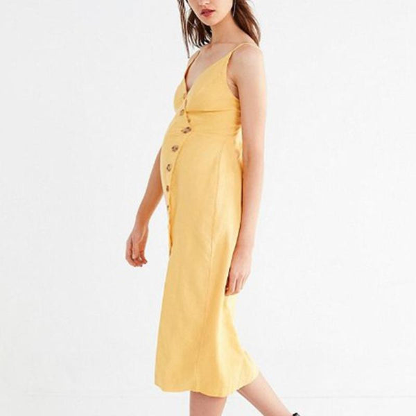 Maternity Solid Color Sleeveless Midi Dress