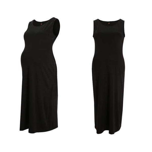 Maternity Solid Black Casual Sundress