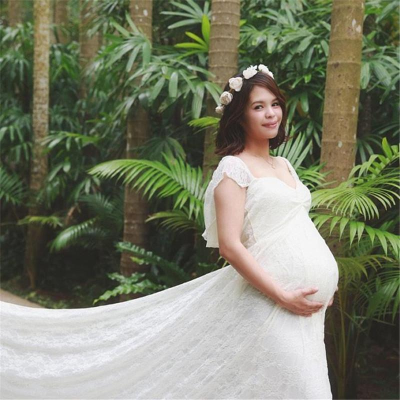 Maternity Photo Photo Dress With Looped Sleeves And Trailing Tail, Maternity Photo Lace Dress