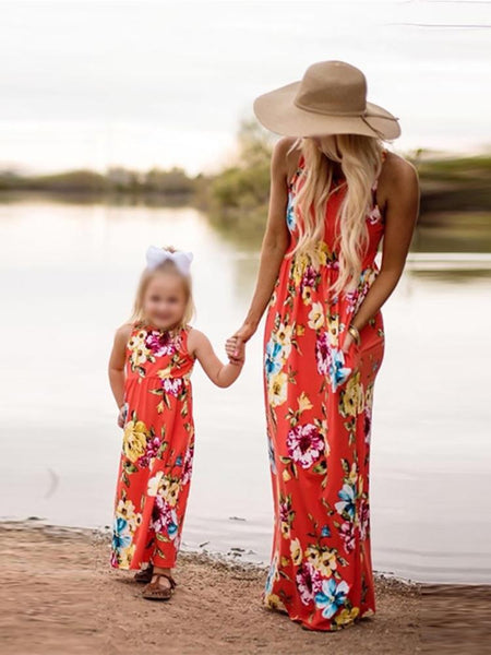 Mom Girl Floral Printed Sleeveless Matching Dress