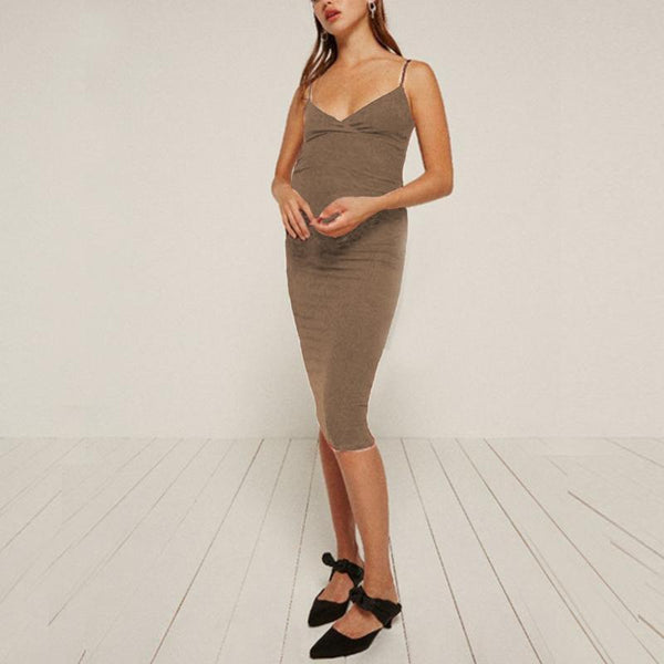 Maternity Solid Color  V-Neck Cami Dress