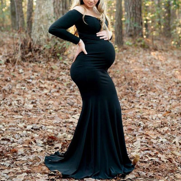 Maternity Pure Color Boat Neck Long Sleeve Dress