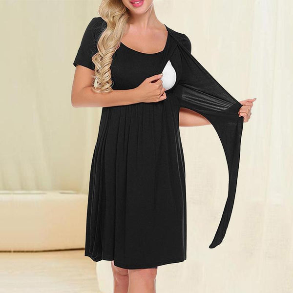 Maternity Casual Round Collar Lactation Skirt
