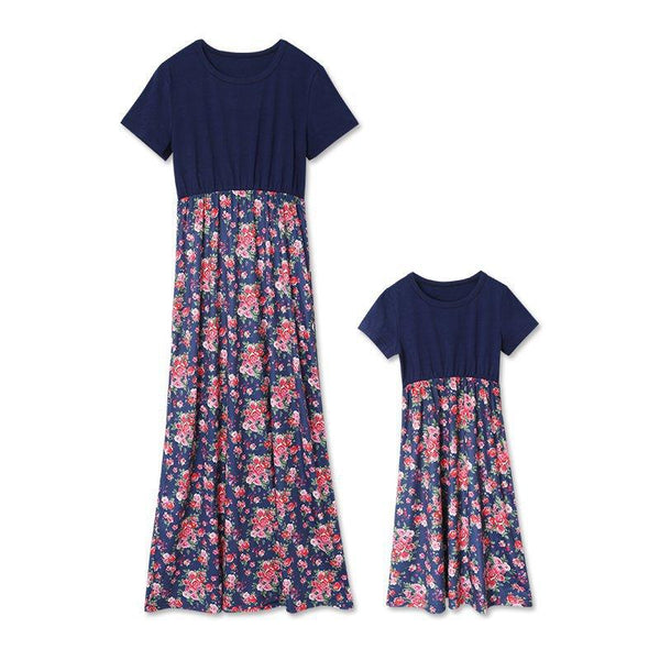 Mom Girl Flower Print Matching Dress