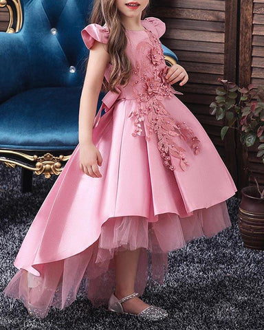 Dovetail Net Gown Princess Bow Evening Gown