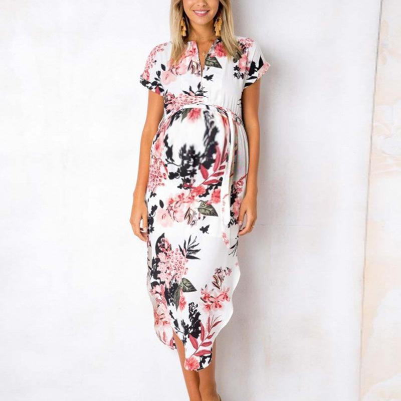 Maternity V-Neck Short Sleeve Printing Casual Dress