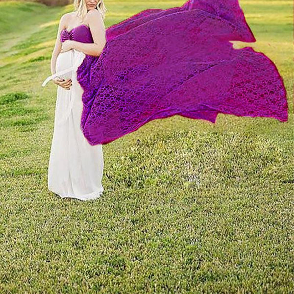 Maternity Lace Sexy Off Shoulder Pure Color Mesh Dress