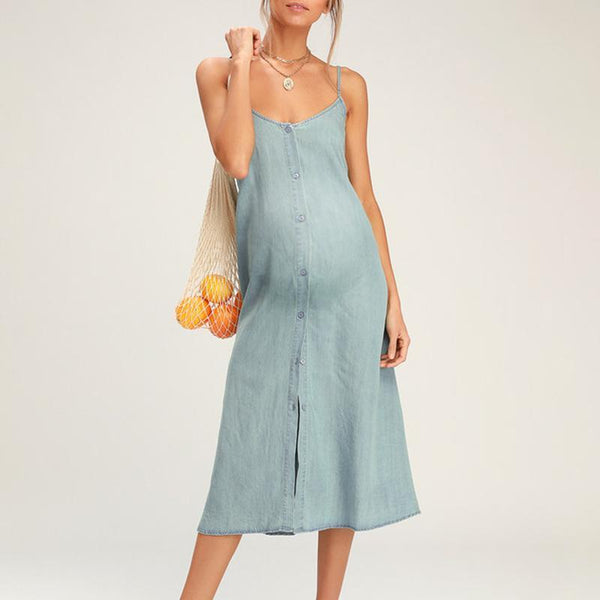 Maternity Plain Spaghetti Strap Casual Dress