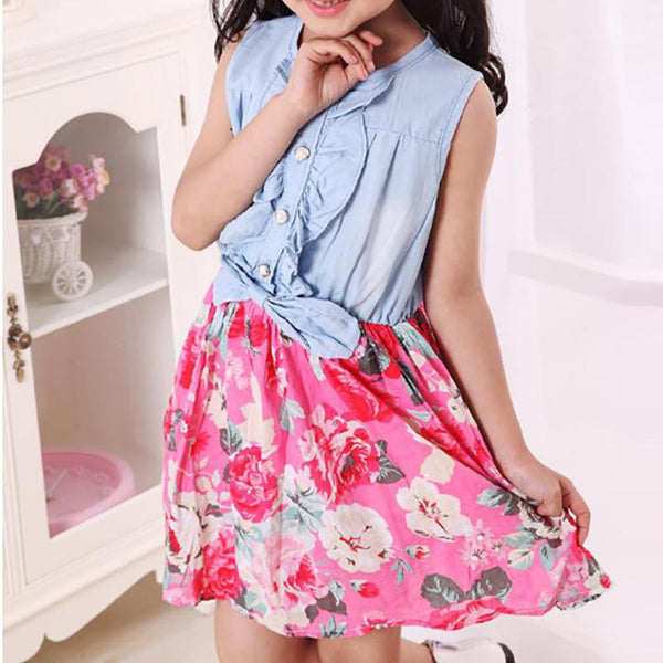 Parent-child Splicing Printed Colour Dress