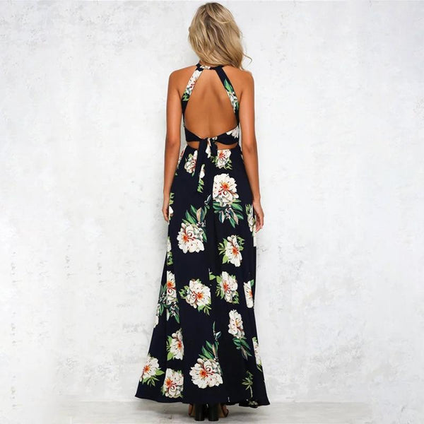 Maternity Sexy Floral Printed Halter Slit Dress