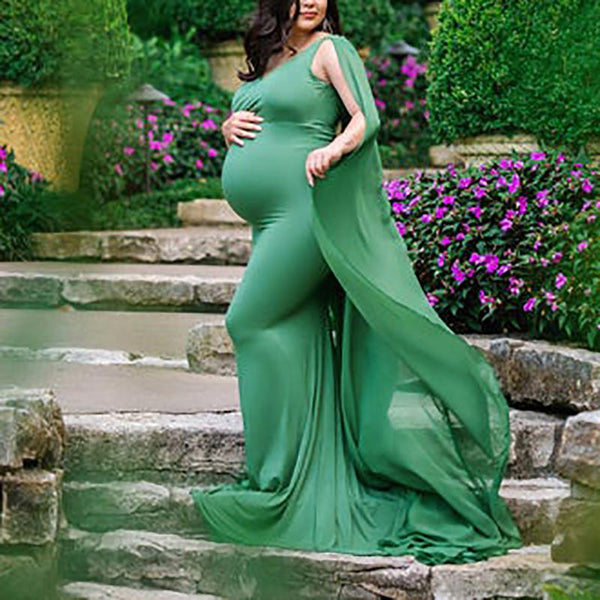 Maternity Mesh Pure Color V Neck Sleeveless Dress