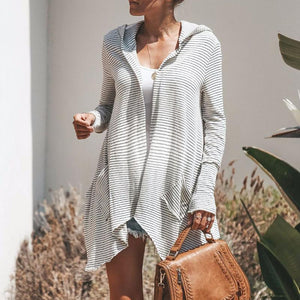 Maternity High-Low Hem Striped Hooded Cardigan Coat