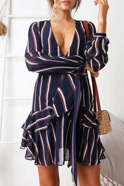 Maternity V Striped Long Sleeve Dress