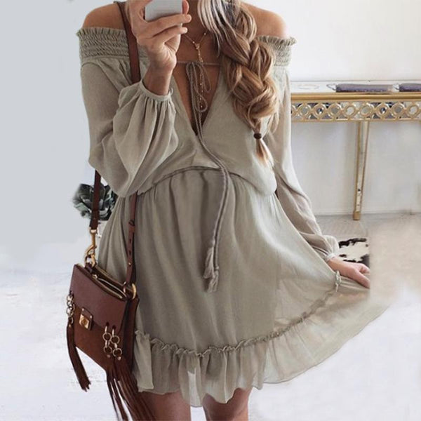 Maternity Off The Shoulder  Ruffle Loose Casual Dress