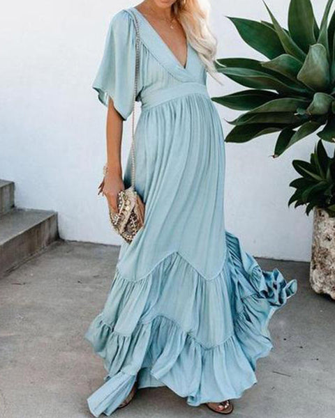 Maternity Wear Sweet V Neck Pure Colour Short Sleeve Dress