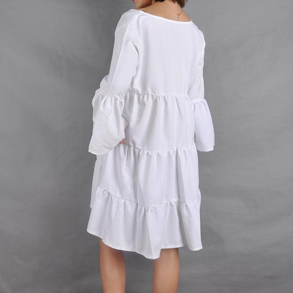 Maternity Solid Color V-Neck Flared Sleeve Pleated Splicing Dress