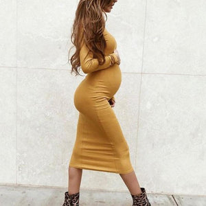 Maternity Casual Solid Color Slim Long Sleeve Dress