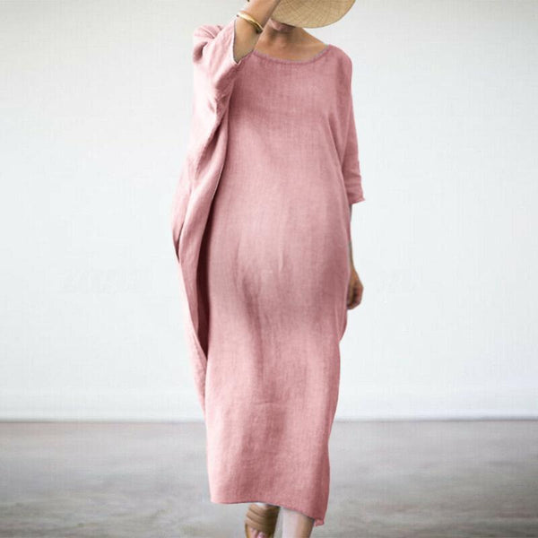 Maternity Bat Sleeve Round Neck Cotton And Loose Dress