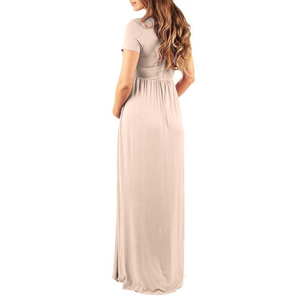 Maternity Elegant Pure Color Ankle-Length Dress