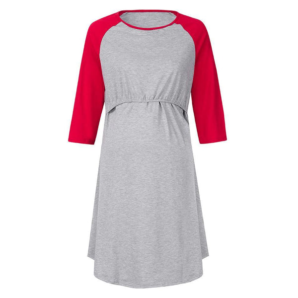 Maternity 3/4 Sleeve Nursing & Feeding Dress