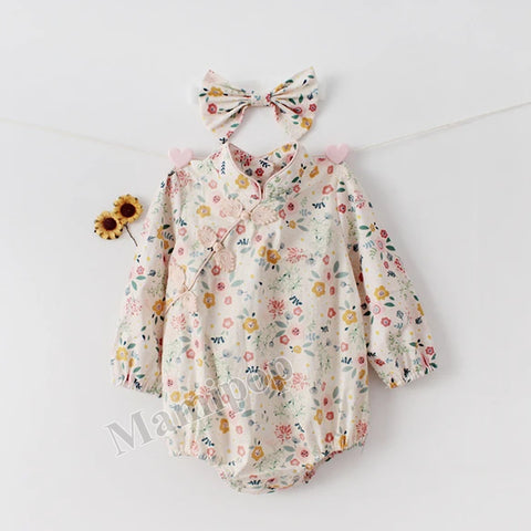 Autumn female baby Han suit broken flower baby Robes Pure Cotton Long Sleeve  Romper