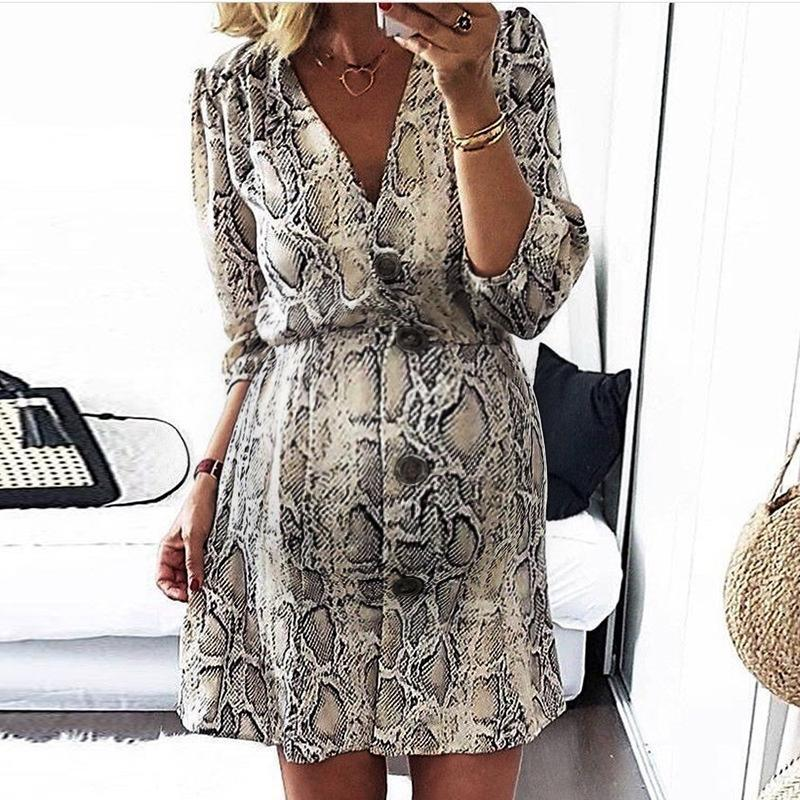Maternity V Neck Snakeskin Bracelet Sleeve Single-Breasted Dress