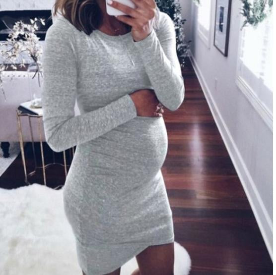 Maternity Long Sleeve Basic Home Dress