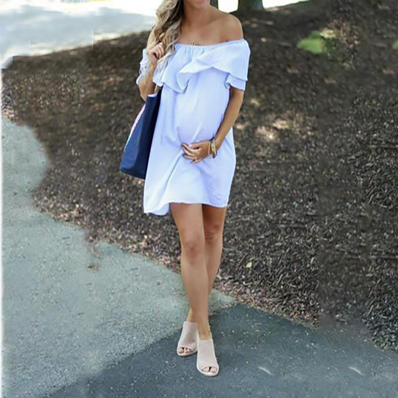 Maternity One-Necked Blue Cotton And Hemp Dress