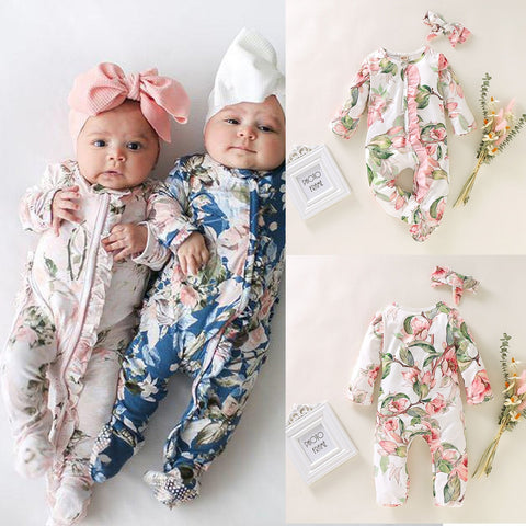 Baby long-sleeved flower print romper Newborn Girl Boy Footed Sleeper Romper Headband Outfits Set romper + hair band